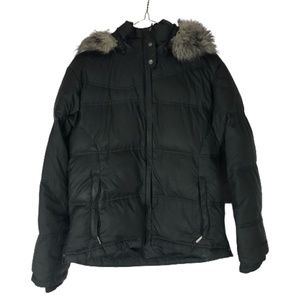 Columbia Puffy Black Winter Jacket with Fur Small